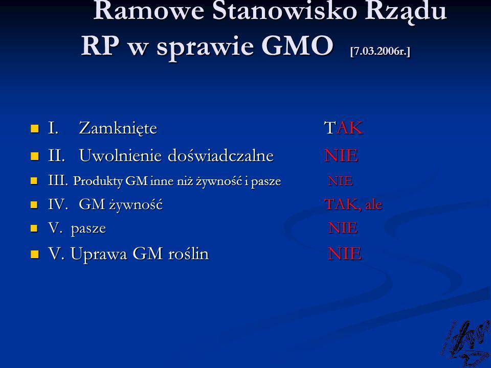 Ramowe Stanowisko Rządu RP w sprawie GMO [7.03.2006r.]